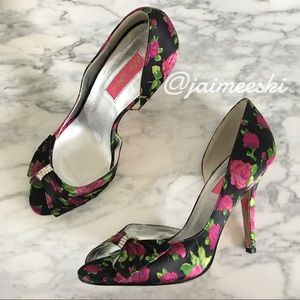 BETSEY JOHNSON D'Orsay Floral Print Peep Toe Pumps